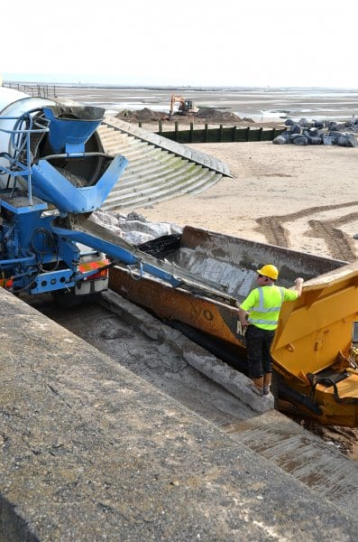 Delivering concrete for the shell base on Cleveleys beach