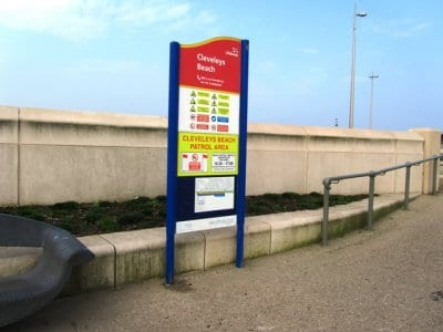 Beach safety signs at Cleveleys