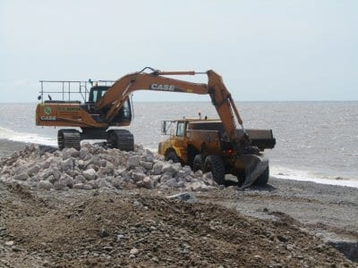 Storage pile of foundation stones for the new Cleveleys groynes