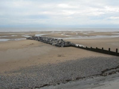 Extended groyne in front of the cafe on Cleveleys beach