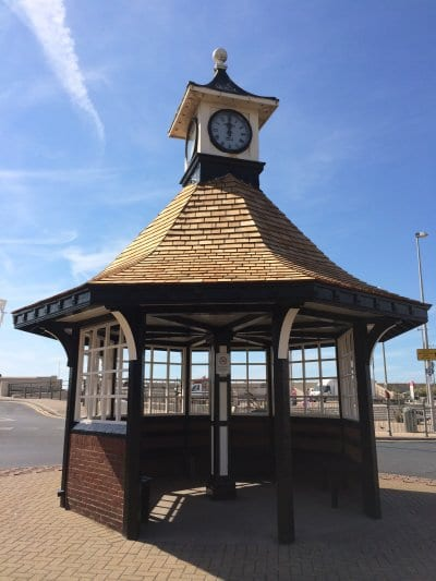 Cleveleys Clock shelter painted and re-roofed, Save our Clock Shelter Campaign