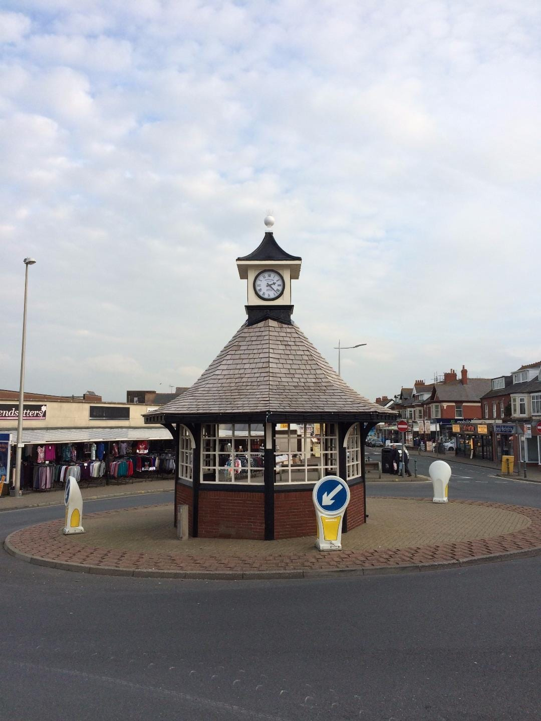 The clock shelter in Cleveleys. Restored and the clocks replaced in 2014. Where Care for Cleveleys began