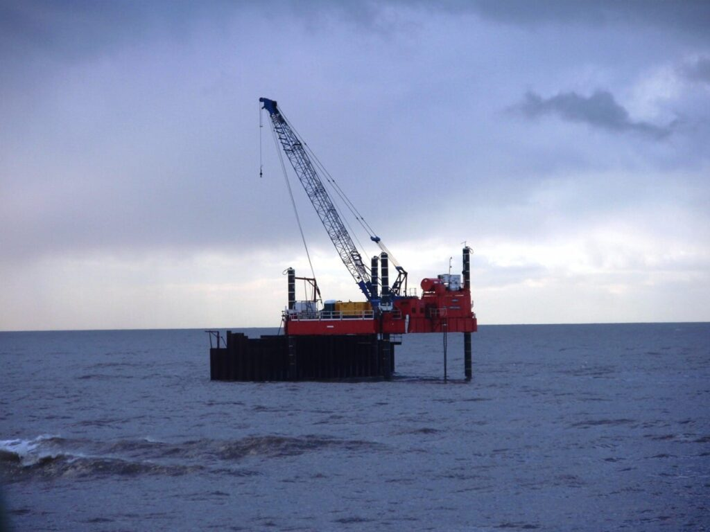 The cofferdam for the outfall pipe repair after the Riverdance Shipwreck was dismantled