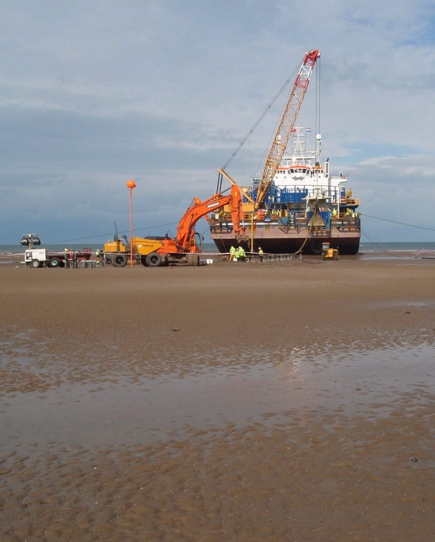 Cable barge on Cleveleys beach