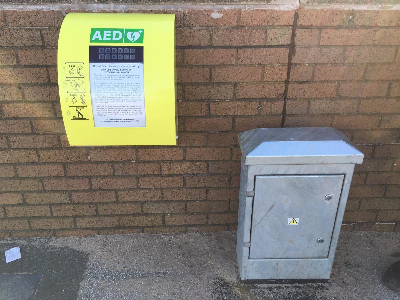 Defibrillator on Rossall Beach Cleveleys