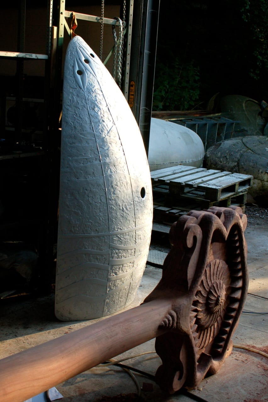 Giant Ogres Paddle being carved in the workshop