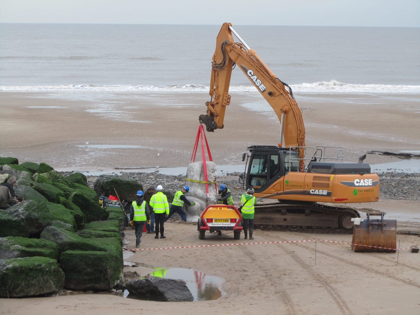 Installation of Stone Ogre on Cleveleys beach