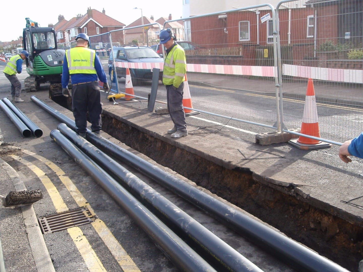 Installing the cable for the Walney Offshore windfarm along Thornton Gate in Cleveleys