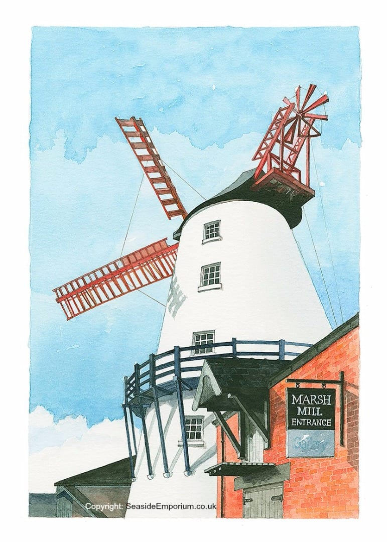 Marsh Mill Windmill, watercolour painting from Seaside Emporium