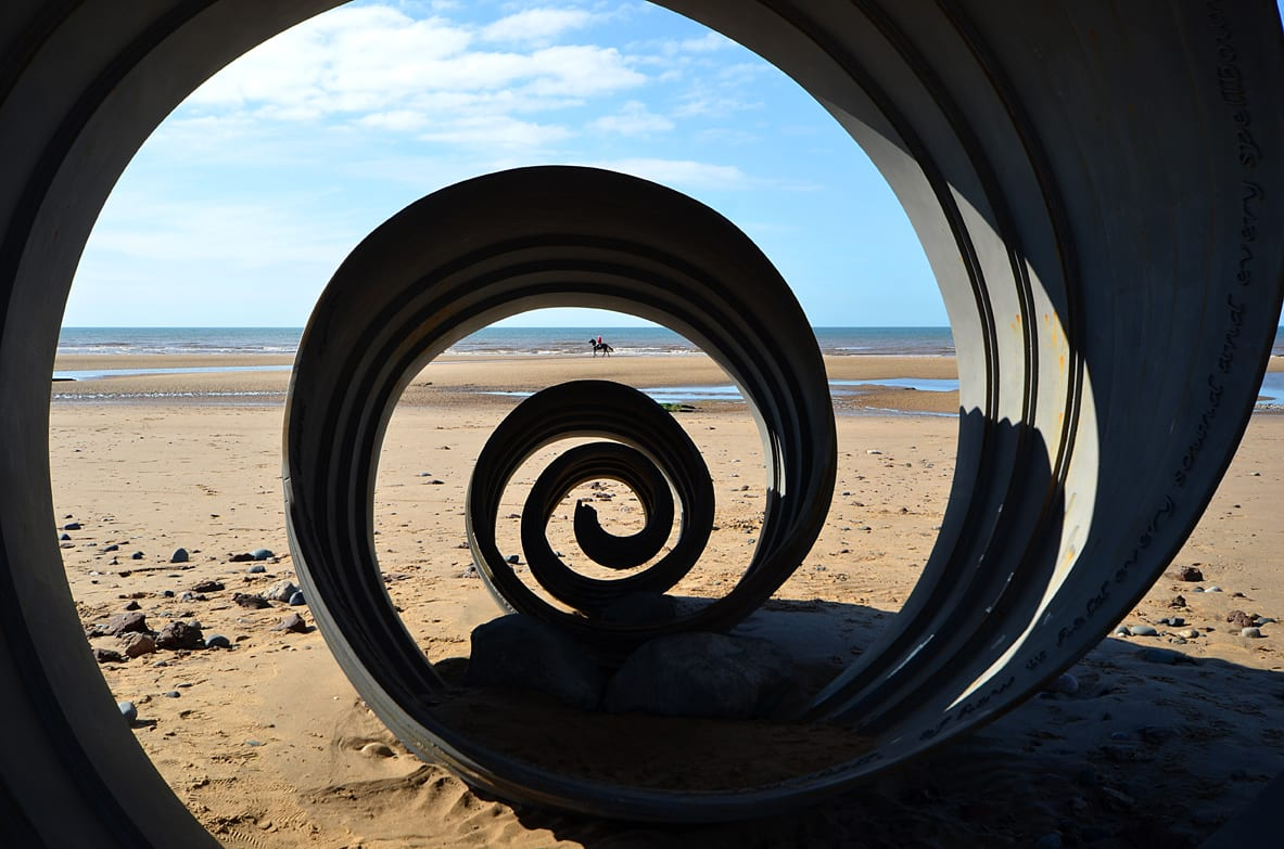 Mary's Shell on Cleveleys beach, artwork from the Mythic Coast on Cleveleys Seafront