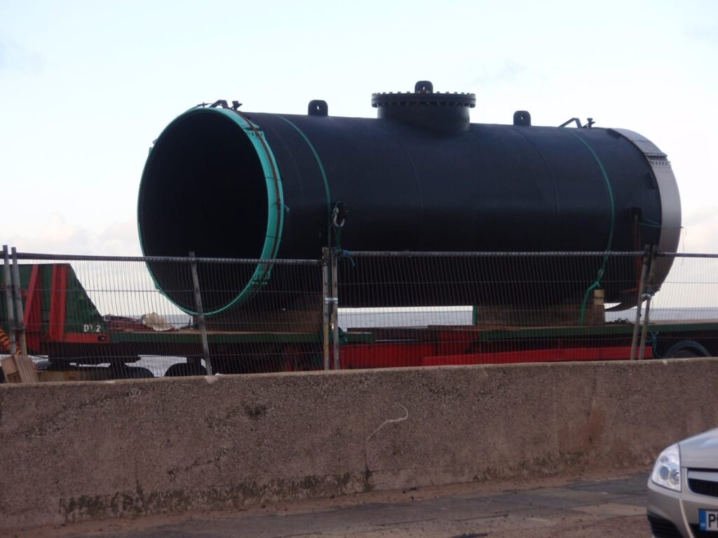 New section of sewage outfall pipe, to replace the piece damaged by the Riverdance Shipwreck