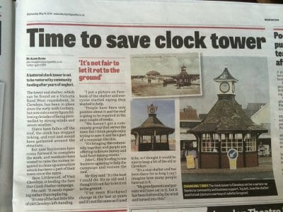 Clock shelter article in Gazette, Save our Clock Shelter Campaign