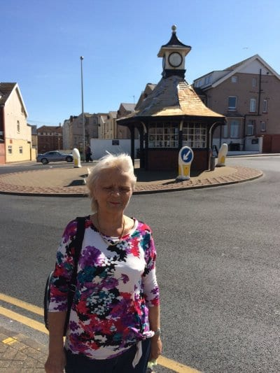 Chrissie and the clock shelter