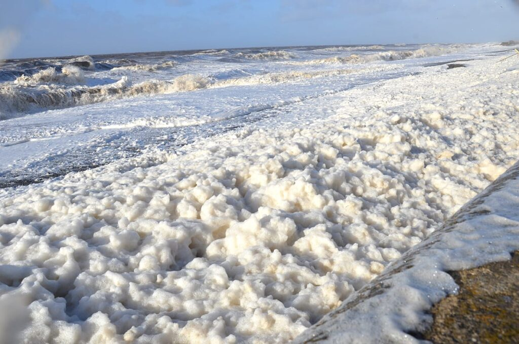 Sea foam on Cleveleys seafront