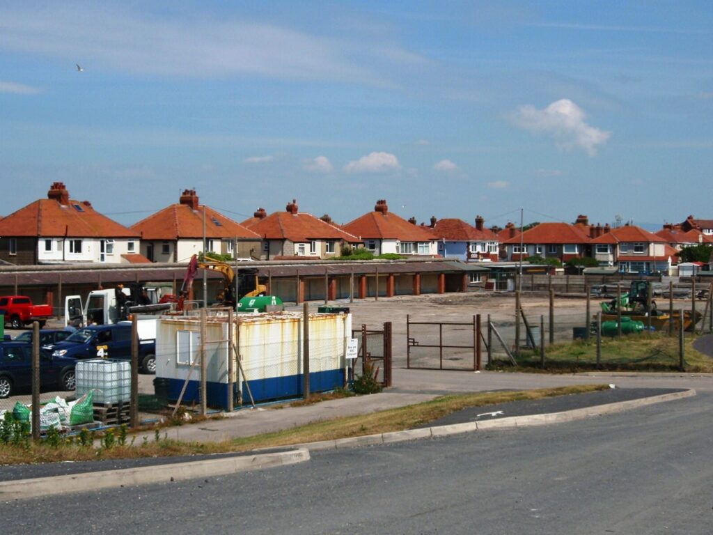 Works compound at Jubilee Gardens, Cleveleys