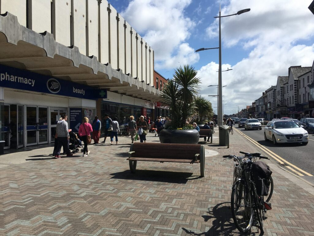 Shopping in Cleveleys on Victoria Road West, Cleveleys town centre