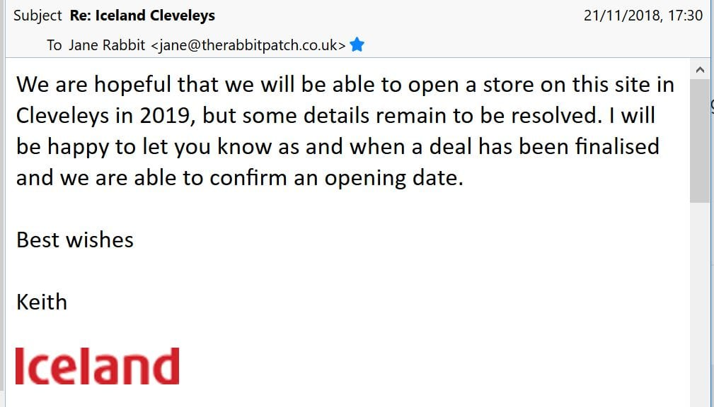 Email from Iceland hoping to open in Cleveleys Tesco